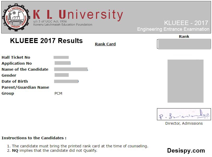KLUEEE 2017 Results Declared Download KLU Rank Card 2017